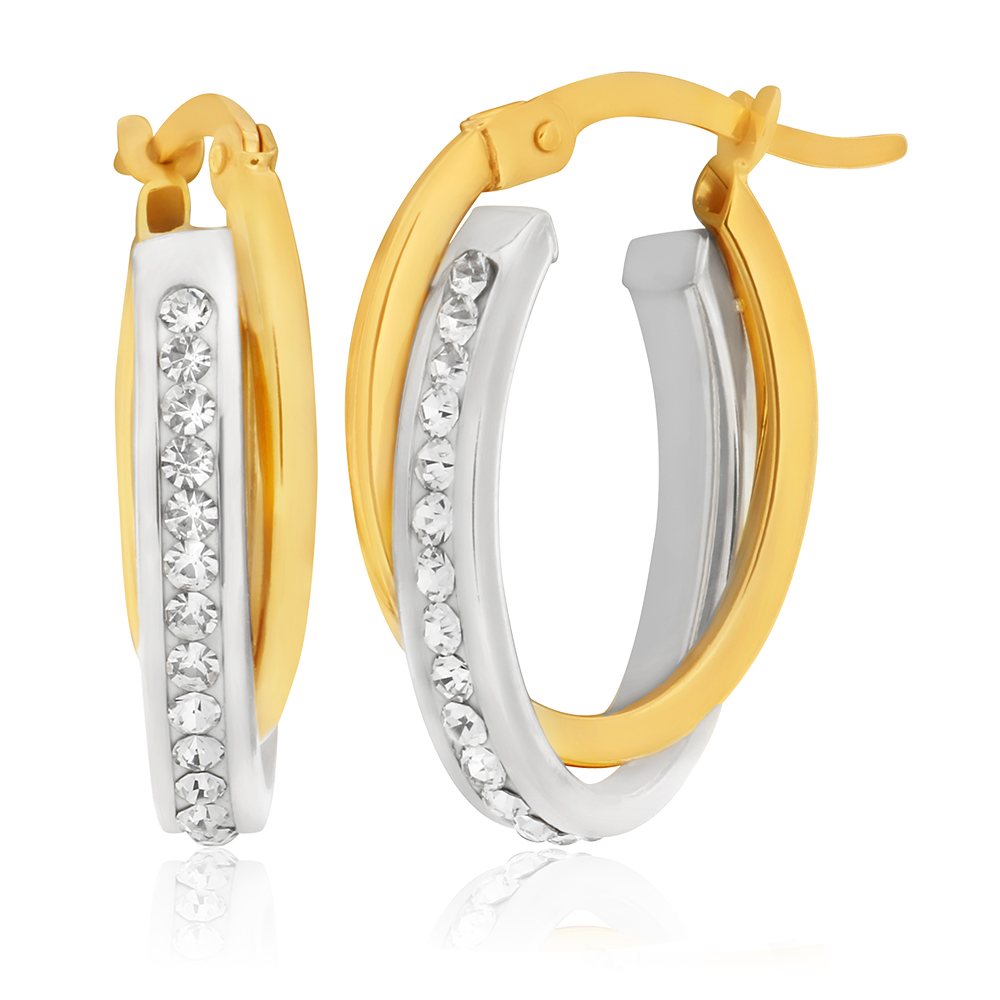 9ct Yellow Gold Silver Filled Crystal Oval Hoop Earrings
