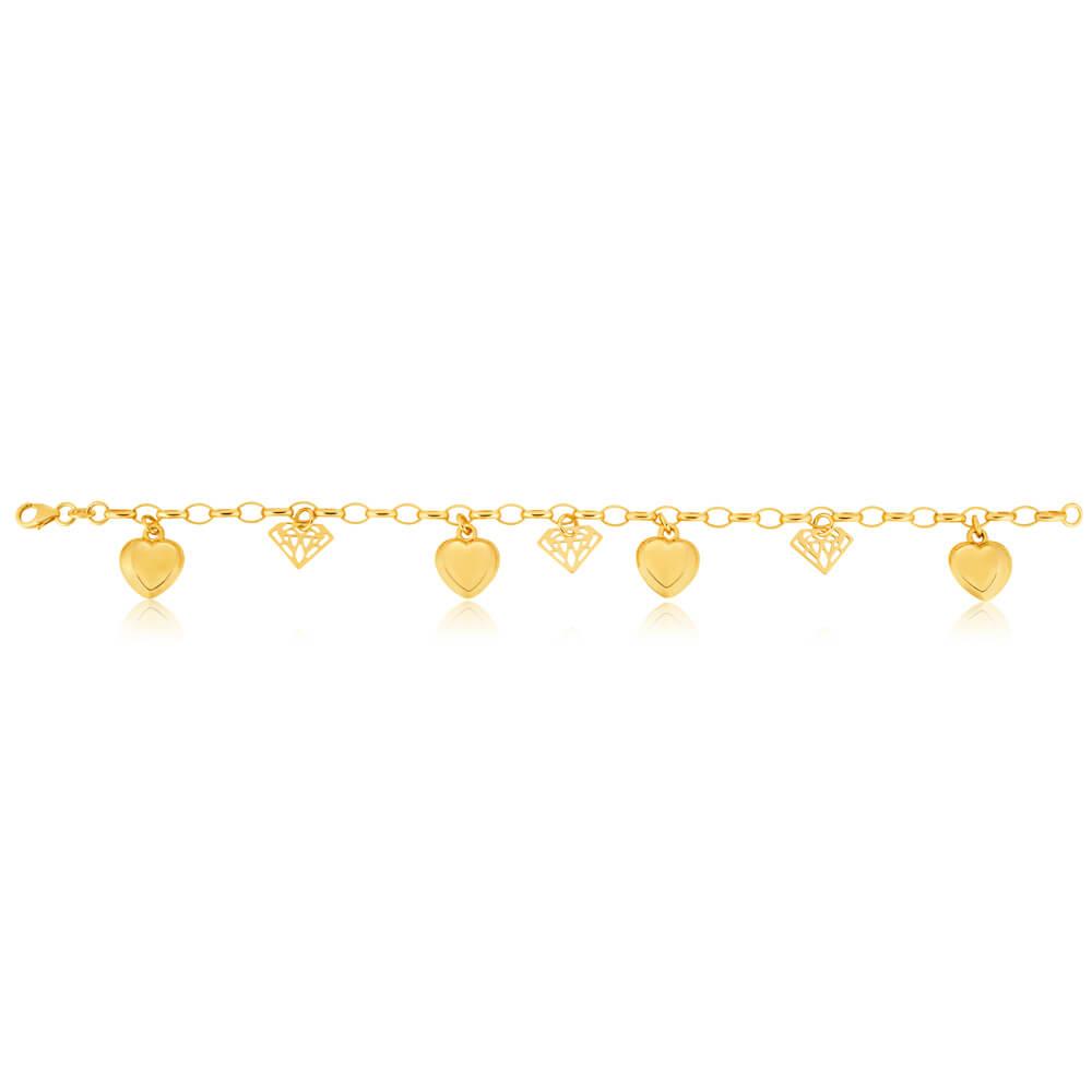 9ct Yellow Gold Silver Filled Heart & Diamond Shape 19cm Bracelet