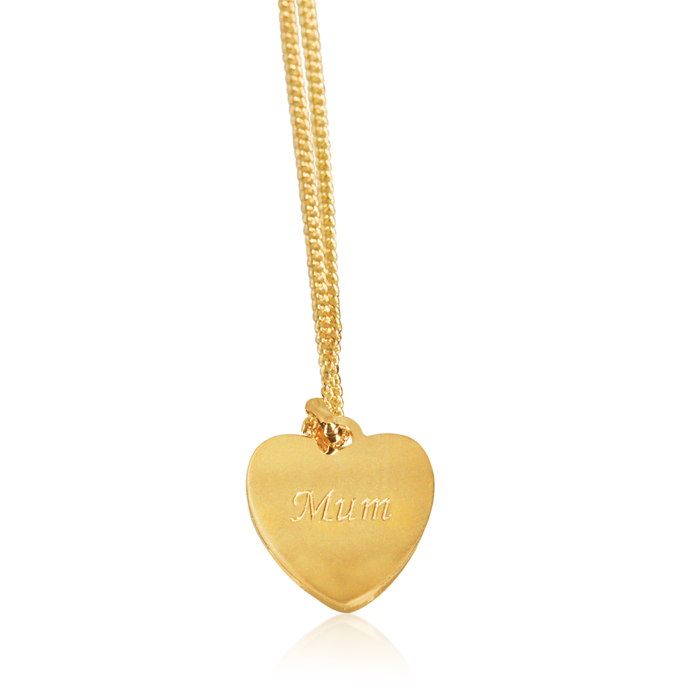 """9ct Yellow Gold Silver Filled Heart Shape """"mum"""" Pendant in 12mm"""