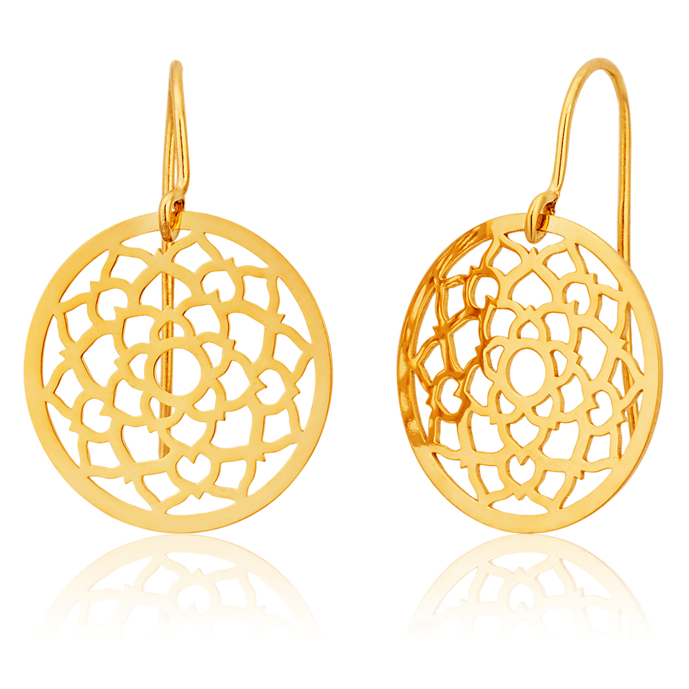 9ct Yellow Gold Silver Filled Lotus Flower Drop 15mm Earrings