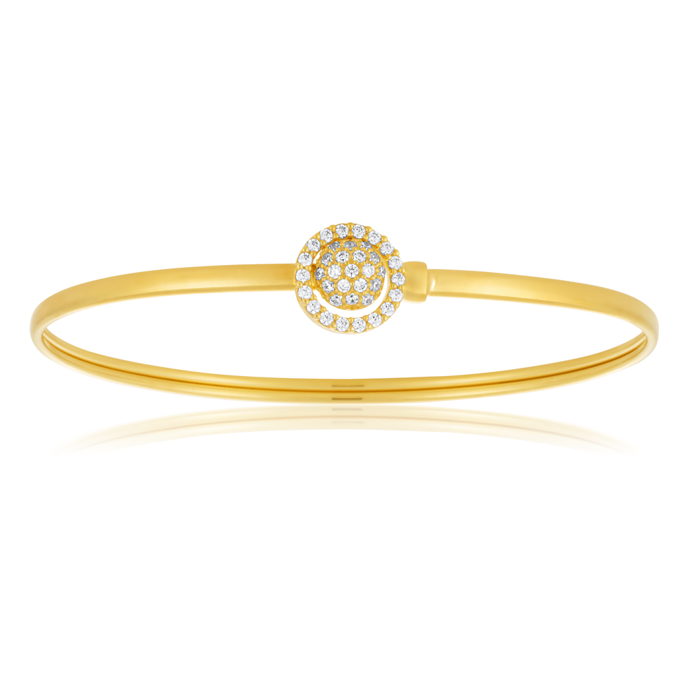 9ct Gold Silver Filled Cubic Zirconia Sun-Flower Power 2 way Oval 50x60mm Bangle