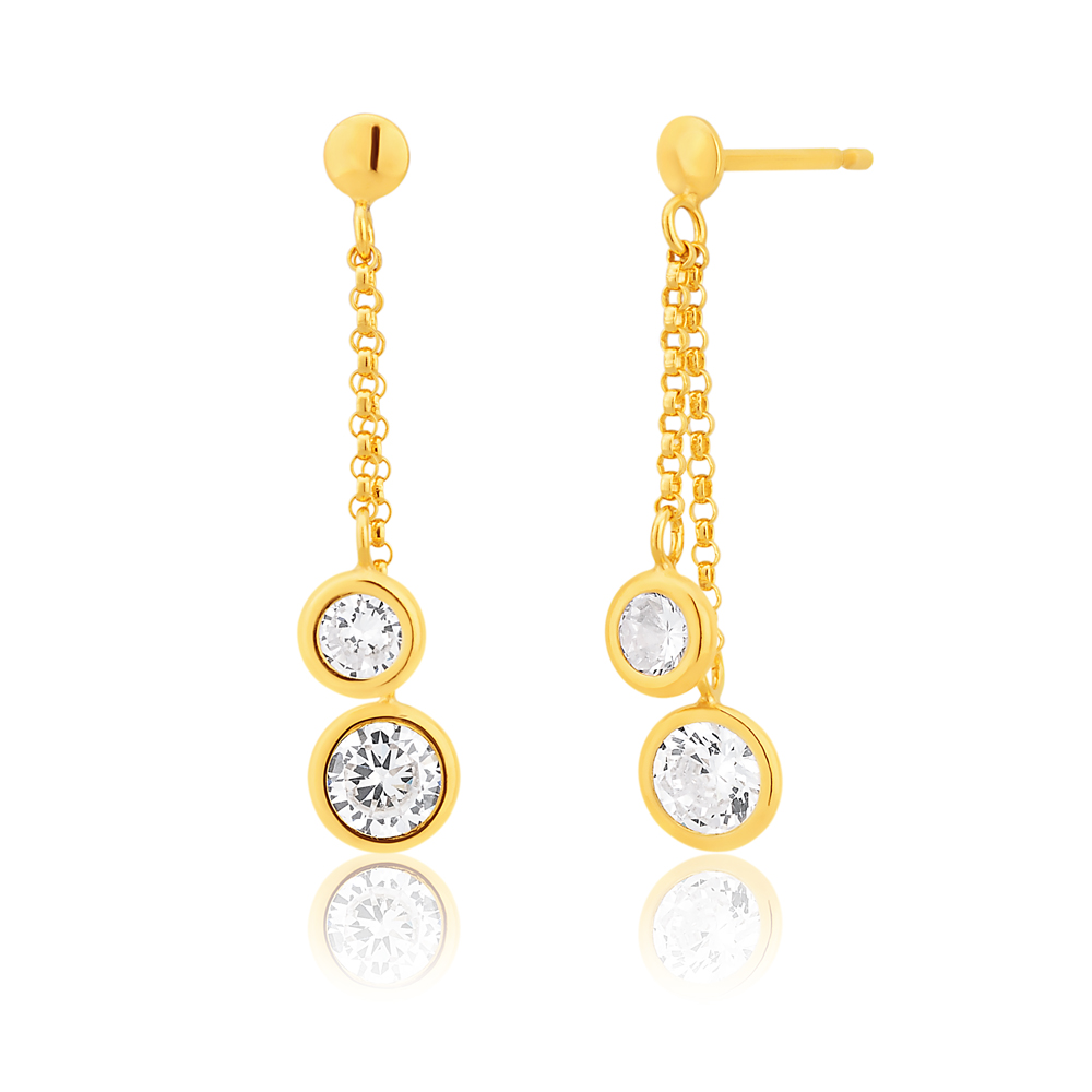 9ct Yellow Gold Silver Filled Double Cubic Zirconia Drop Earrings