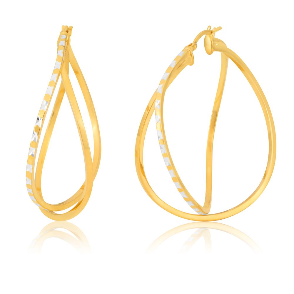 Silverfilled 9ct Two-Tone Diamond-Cut Fancy 40mm Hoop Earrings