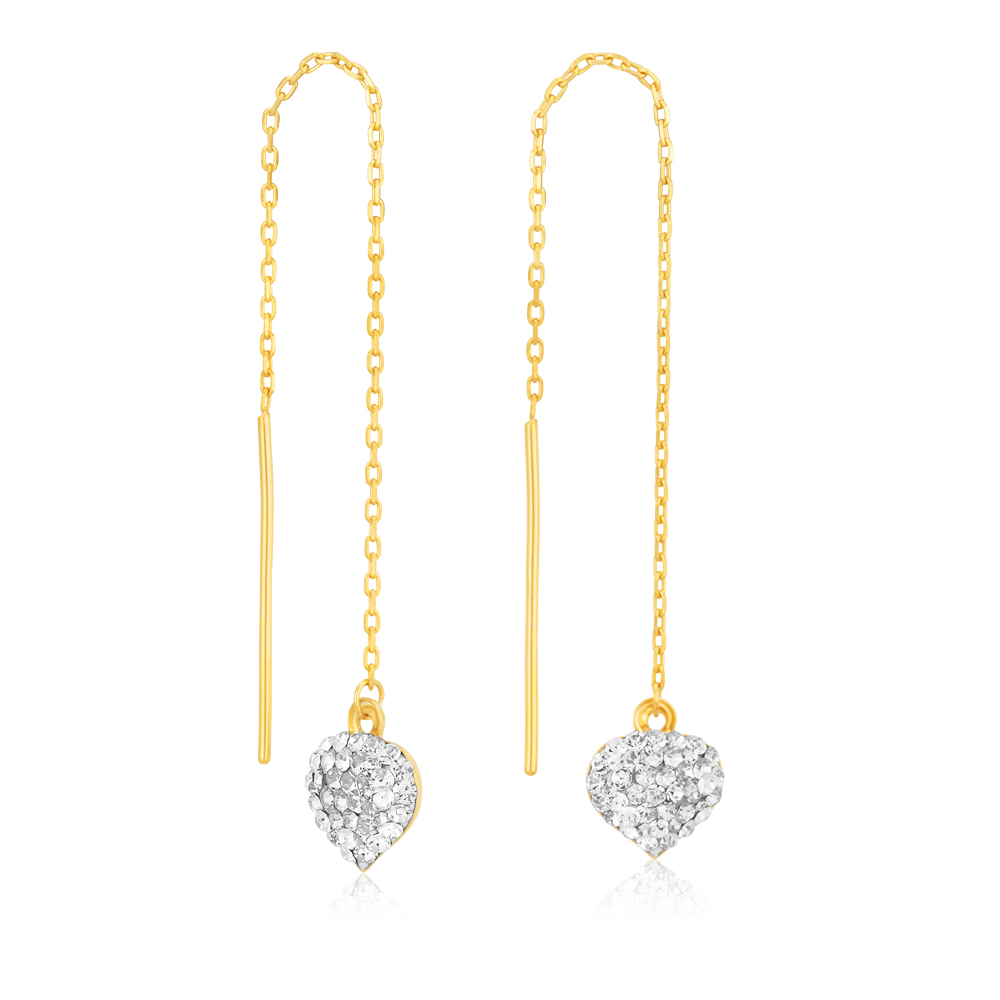 Silverfilled Small Crystal Heart 90mm Threader
