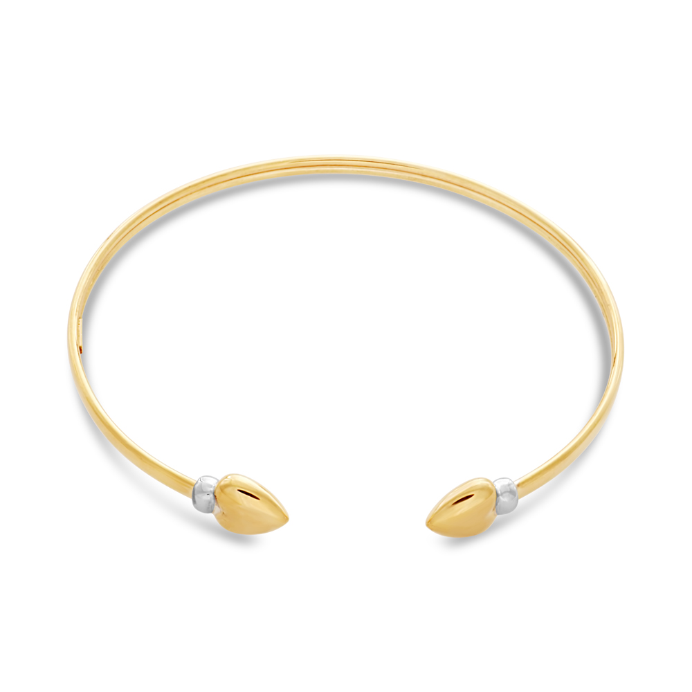 9ct Two-Tone Gold Filled Heart Cuff Bangle