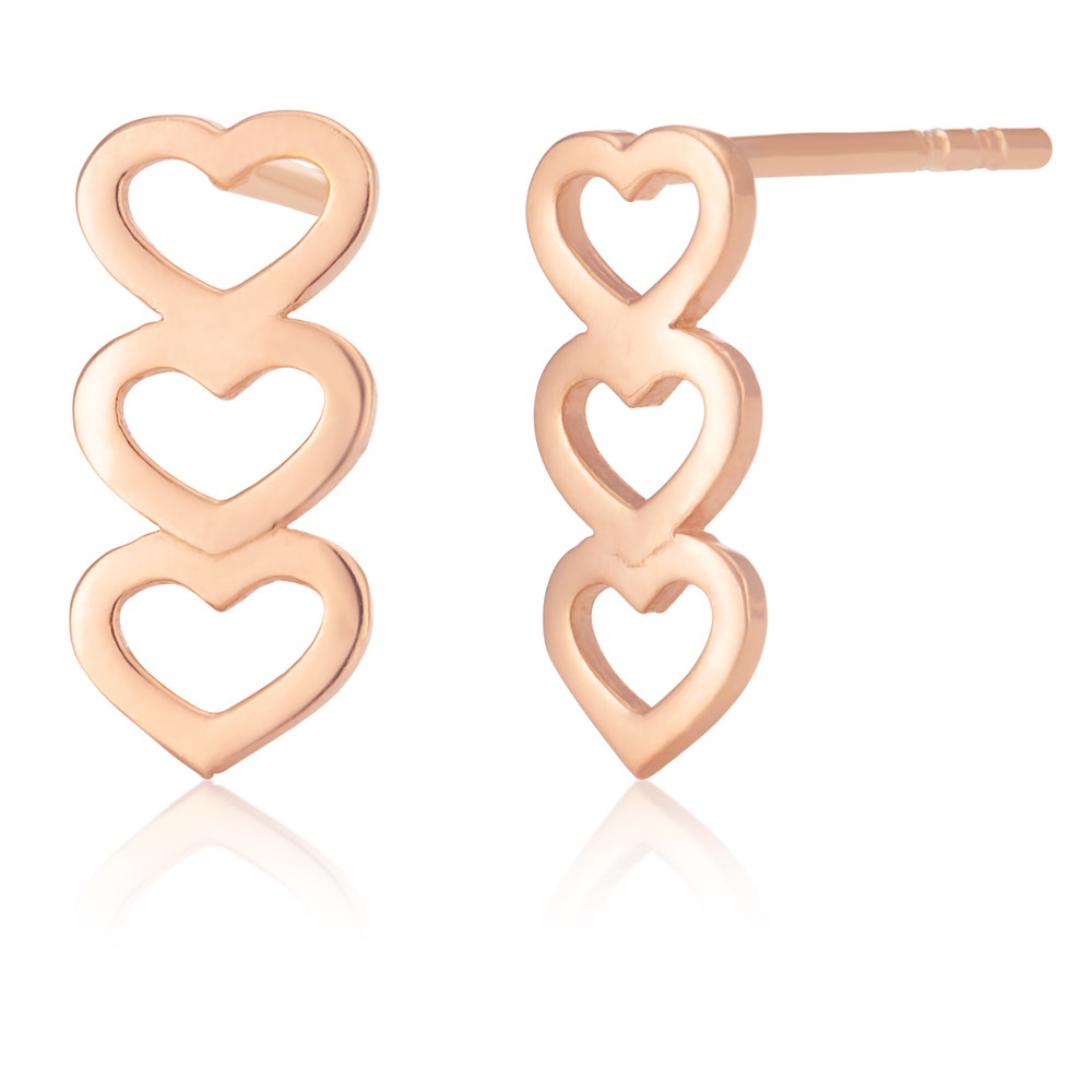 9ct Rose-Colour Gold Filled Three Hearts Stud Earrings