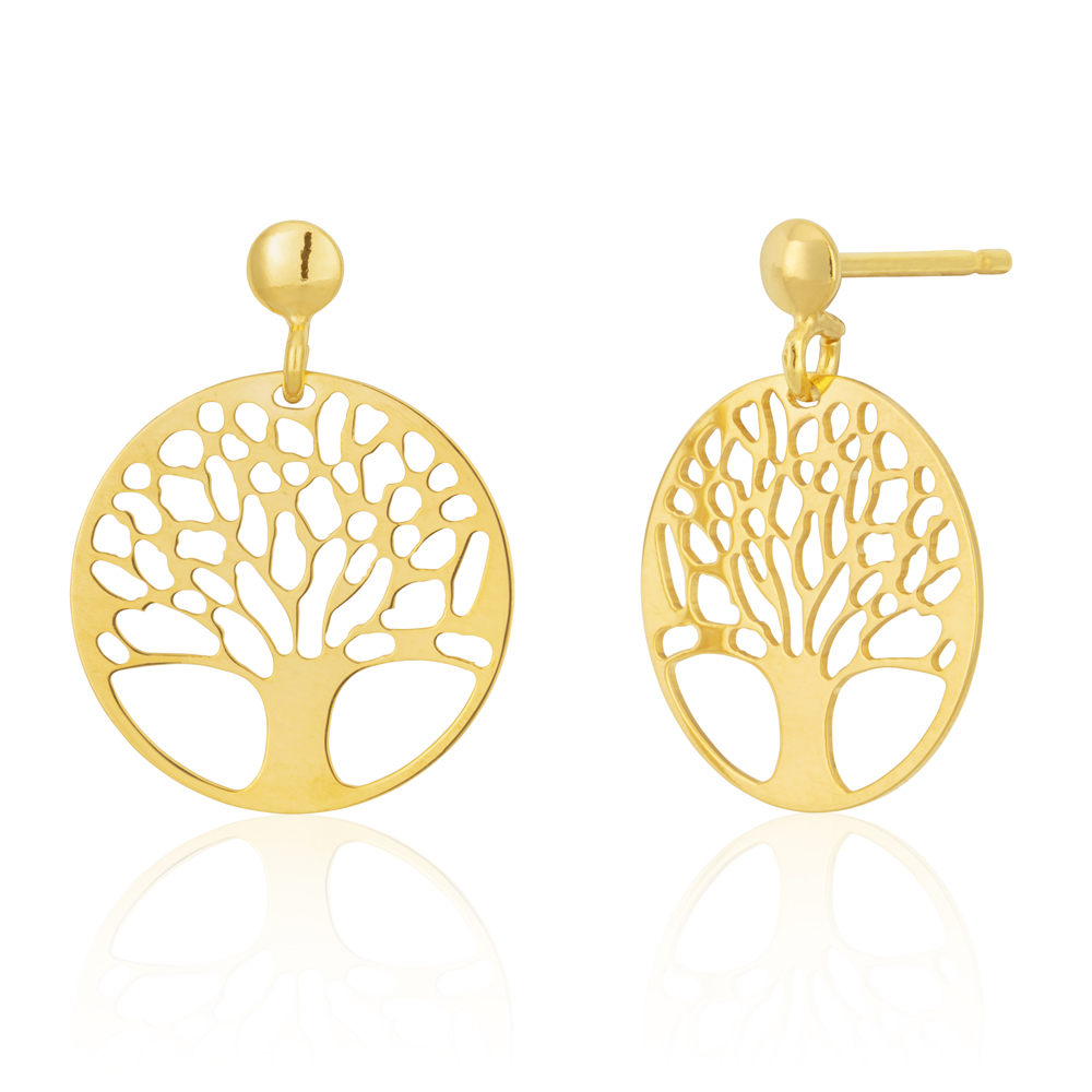9ct Gold Filled Tree of Life Cut-Out Stud Earrings