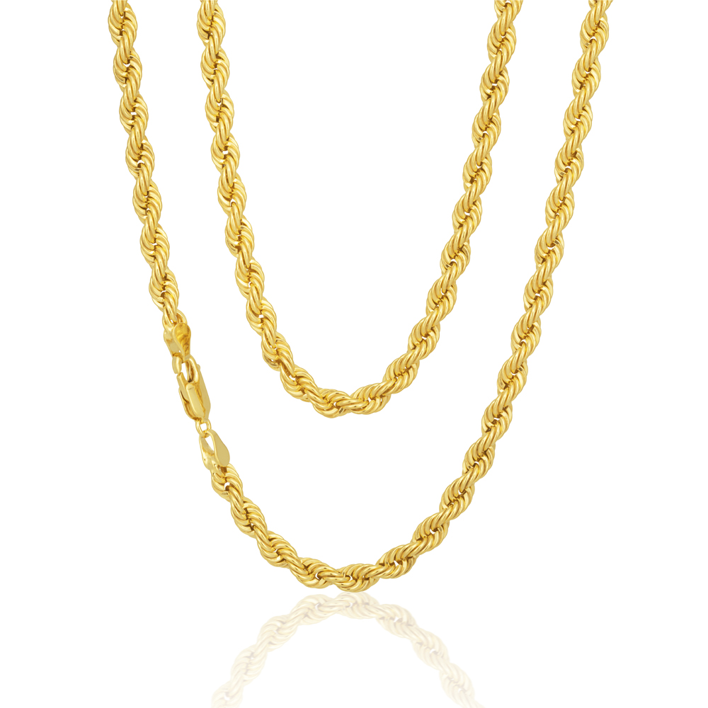 9ct Gold Filled Rope 45cm Chain 80 Gauge