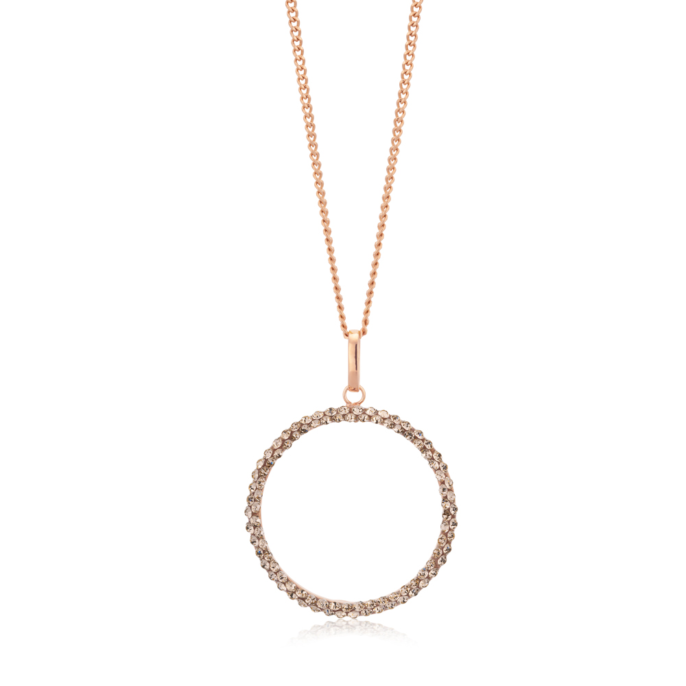 9ct Rose Gold Filled 20mm Round Crystal Pendant