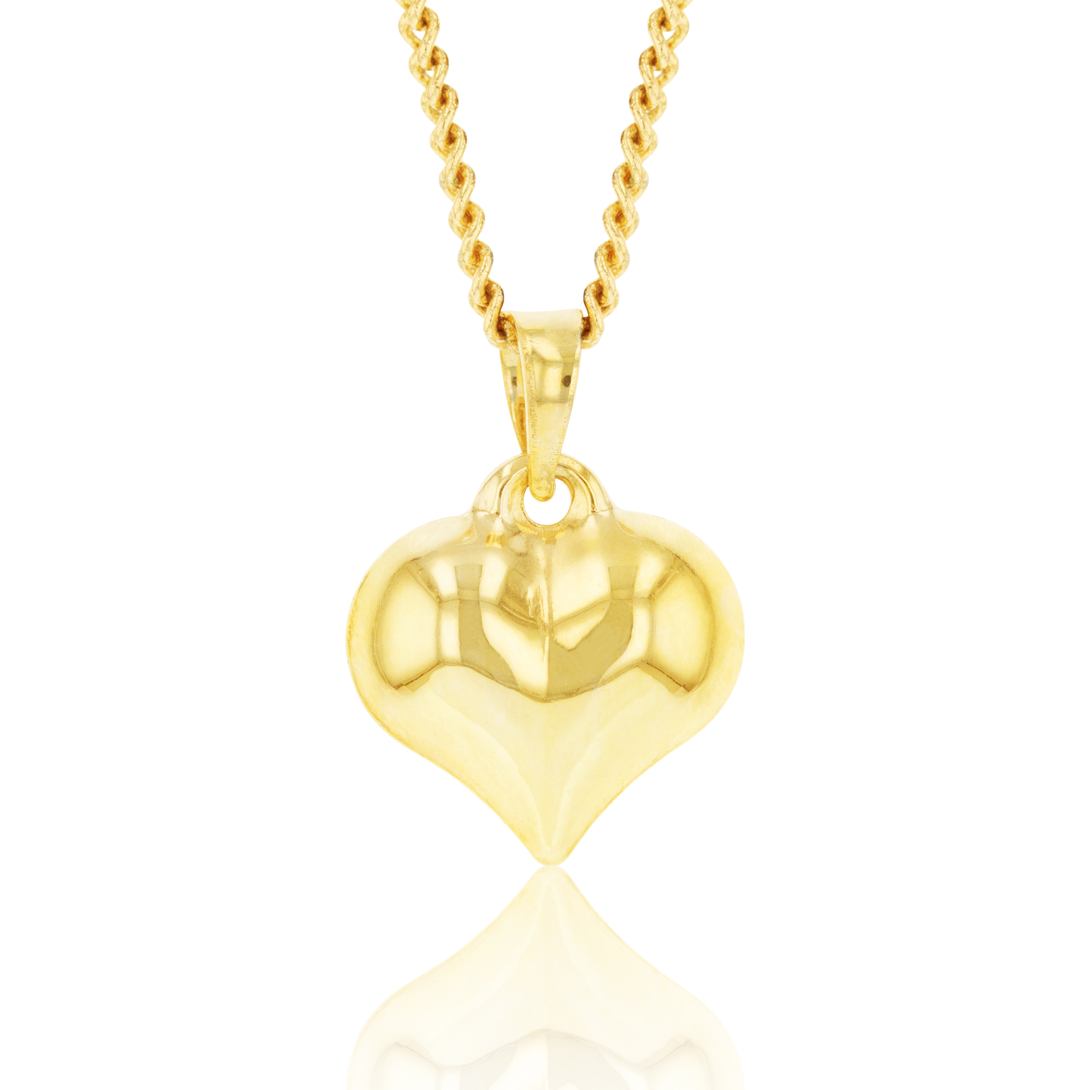 9ct Yellow Gold Silverfilled Heart Charm Pendant