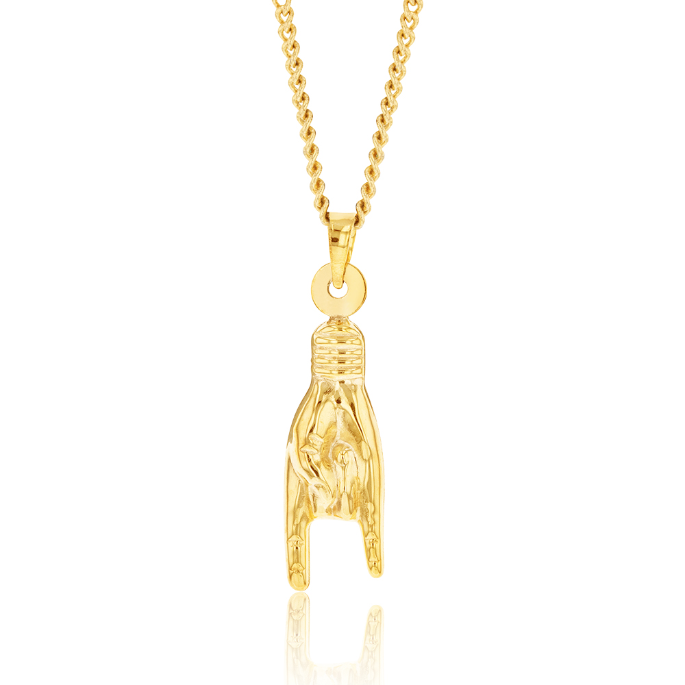 9ct Yellow Gold Silverfilled Hand Good Luck Charm Pendant