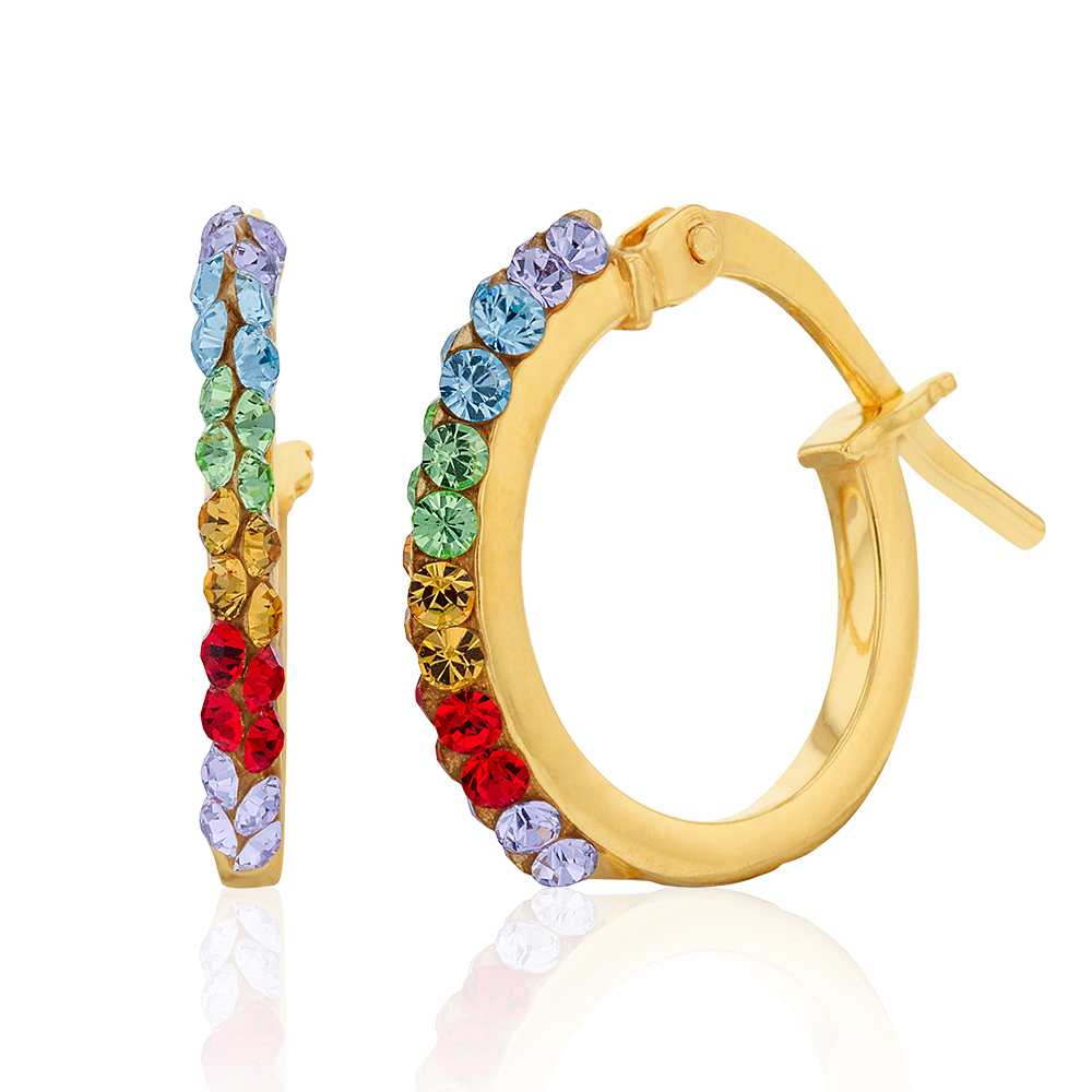 9ct Silverfilled Yellow Gold Coloured Crystal 10mm Hoop Earrings