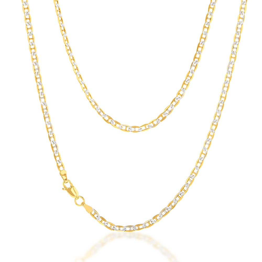 9ct Silverfilled White And Yellow Gold Anchor 45cm Chain