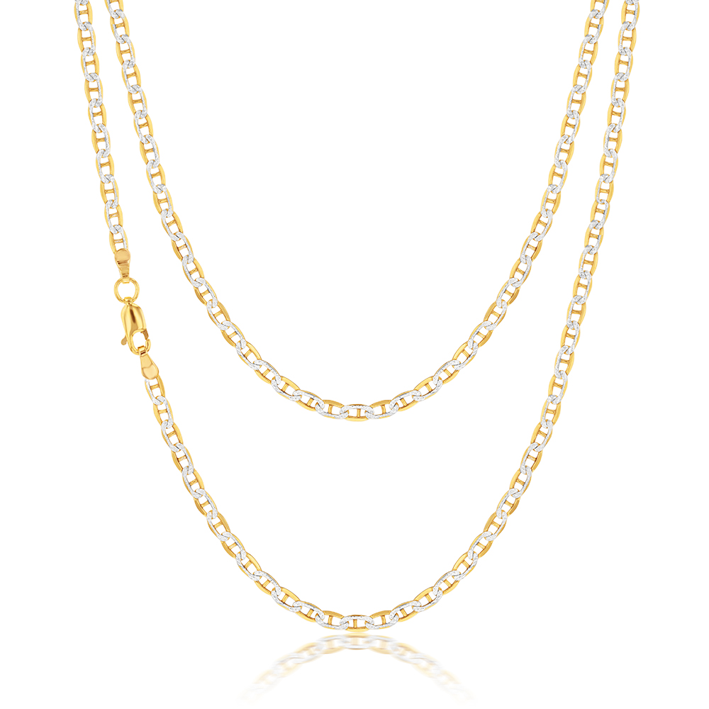 9ct Silverfilled Yellow And White Gold Anchor 50cm Chain