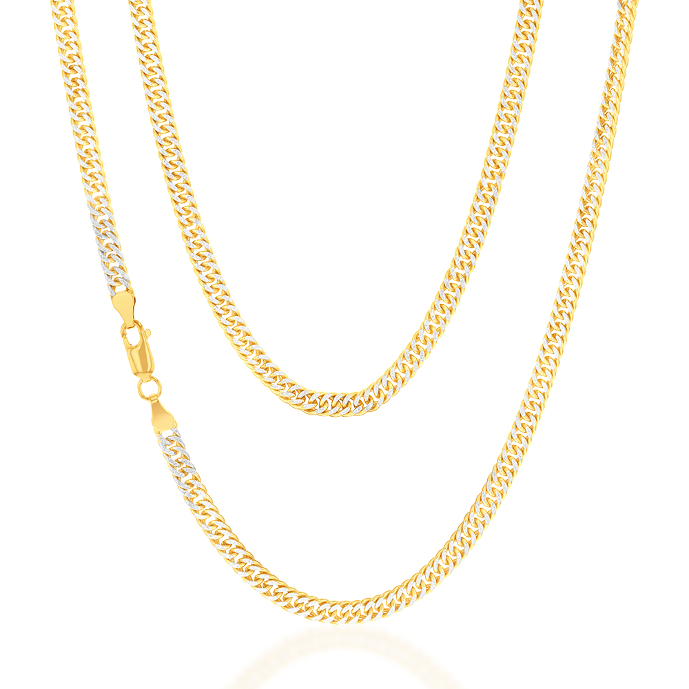 9ct Silverfilled Yellow And White Gold Double Curb 50cm Chain