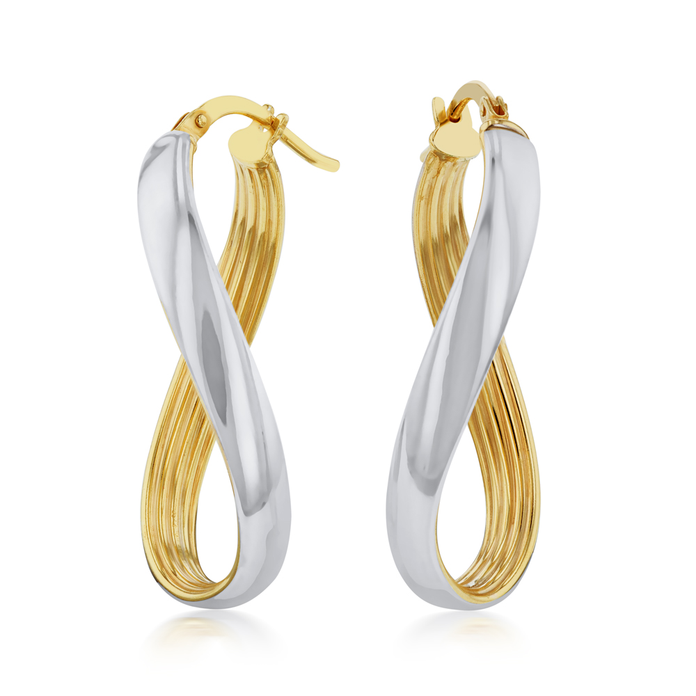 9ct Silverfilled Yellow And Silver Gold Twisted Hoop Earrings