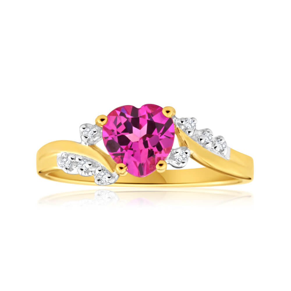 9ct Yellow Gold Created Pink Sapphire Heart and  Diamond Ring
