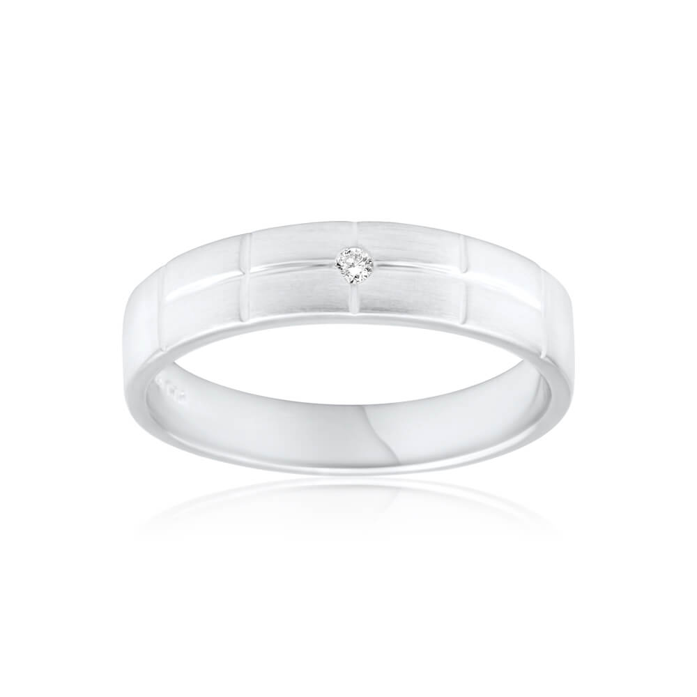 Sterling Silver Patterned Diamond Ring
