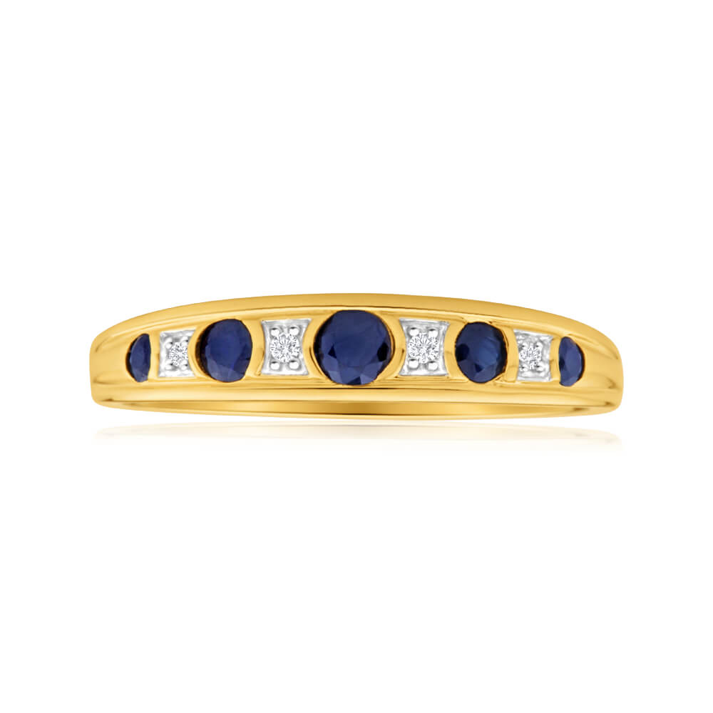 9ct Yellow Gold Natural Sapphire and Diamond Ring