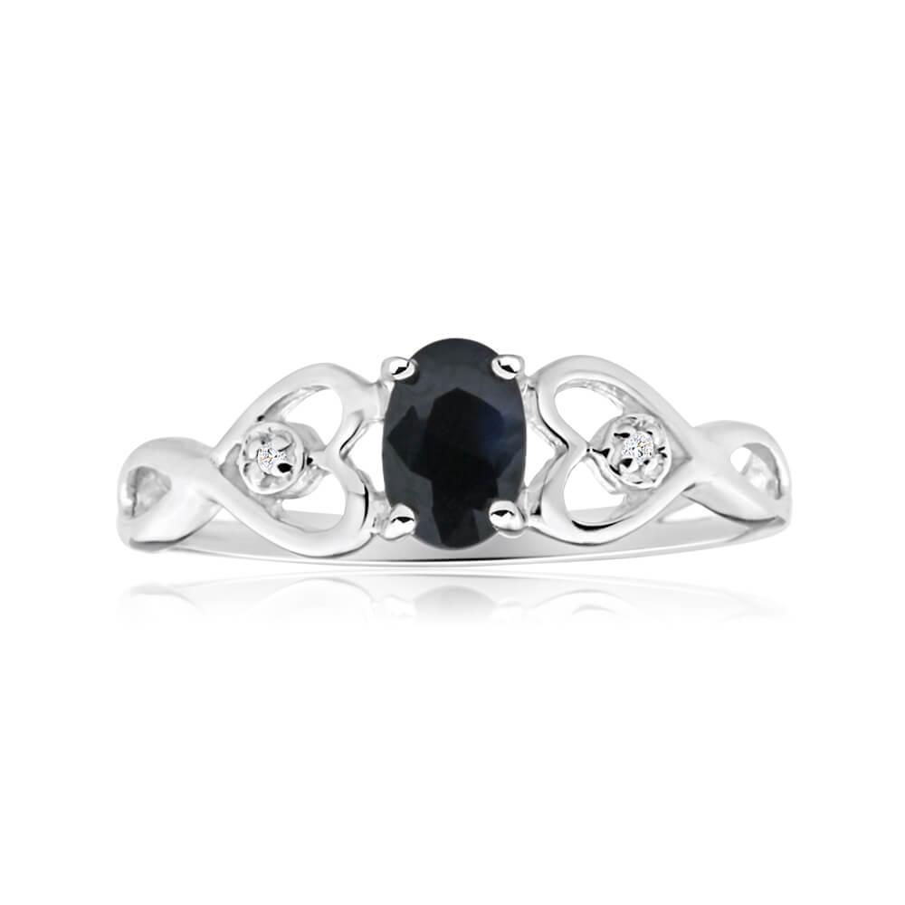 9ct Charming White Gold Diamond + Natural Sapphire Ring