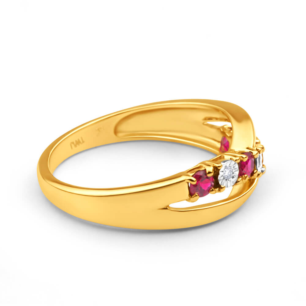 9ct Yellow Gold Created Ruby x 4 and Diamond x 4 Ring