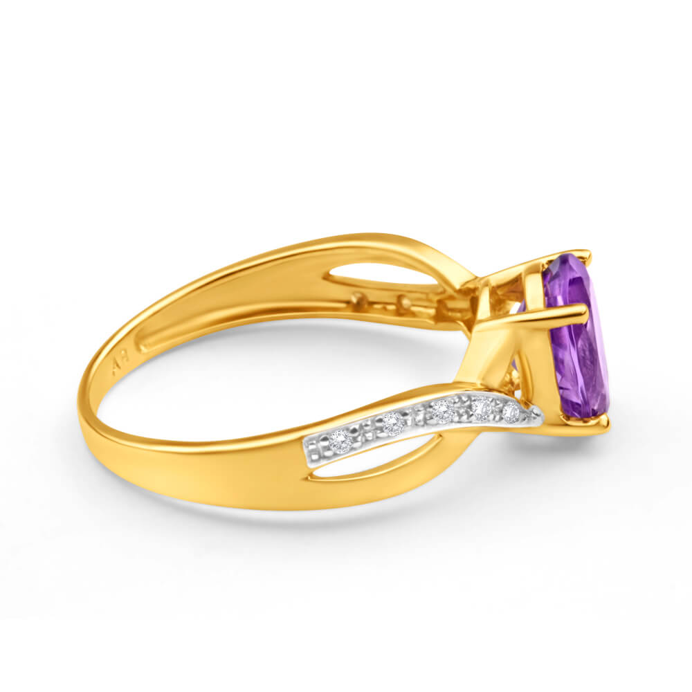 9ct Yellow Gold Amethyst + Diamond Cross Over Ring
