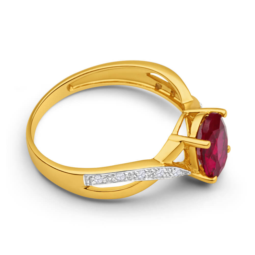 9ct Yellow Gold Created Ruby and Diamond Cross Over Ring