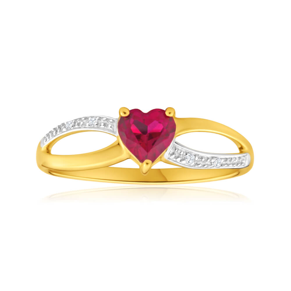 9ct Yellow Gold Alluring Heart Created Ruby + Diamond Ring