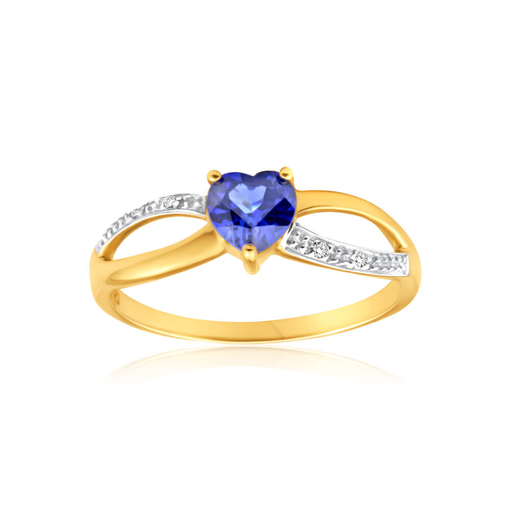 9ct Charming Yellow Gold Created Sapphire + Diamond Ring