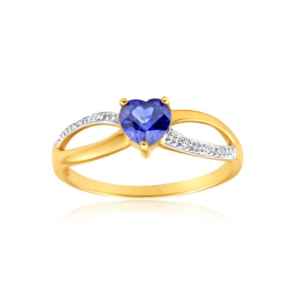 9ct Charming Yellow Gold Created Sapphire + Diamond Ring
