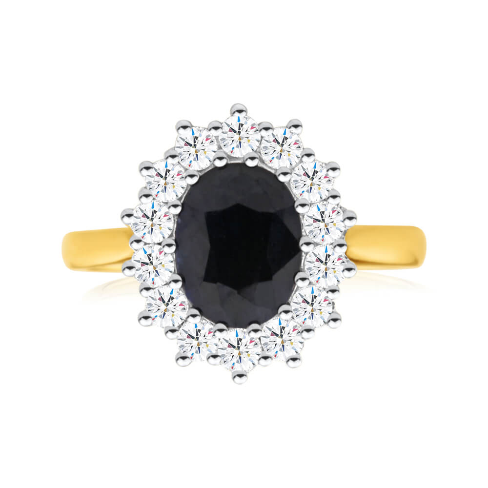"18ct Ring with 2.70 Carat Natural Sapphire and 0.70ct Diamonds ""Princess Catherine"""
