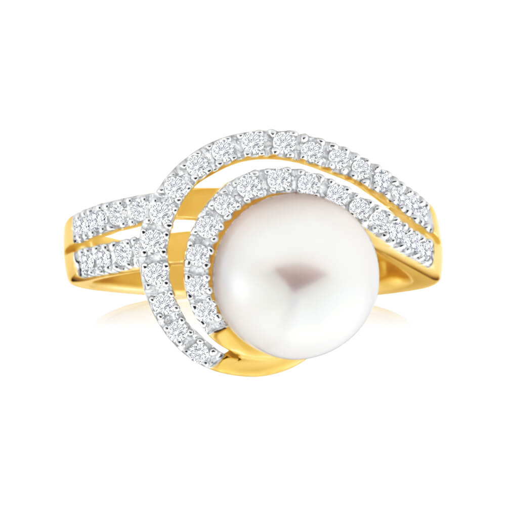 9ct Yellow Gold Cultured Pearl and Diamond Swirl Ring