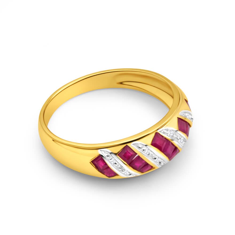 9ct Charming Yellow Gold Diamond + Natural Ruby Ring