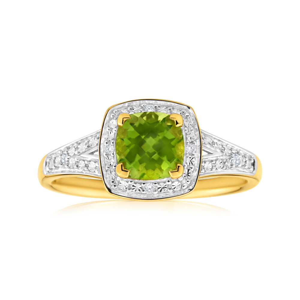 9ct Yellow Gold Diamond + Peridot Ring
