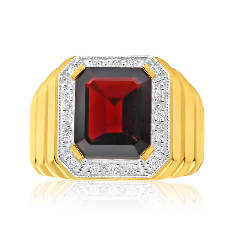 9ct Yellow Gold 12x10mm Emerald Cut Garnet and Diamond Halo Gents Ring