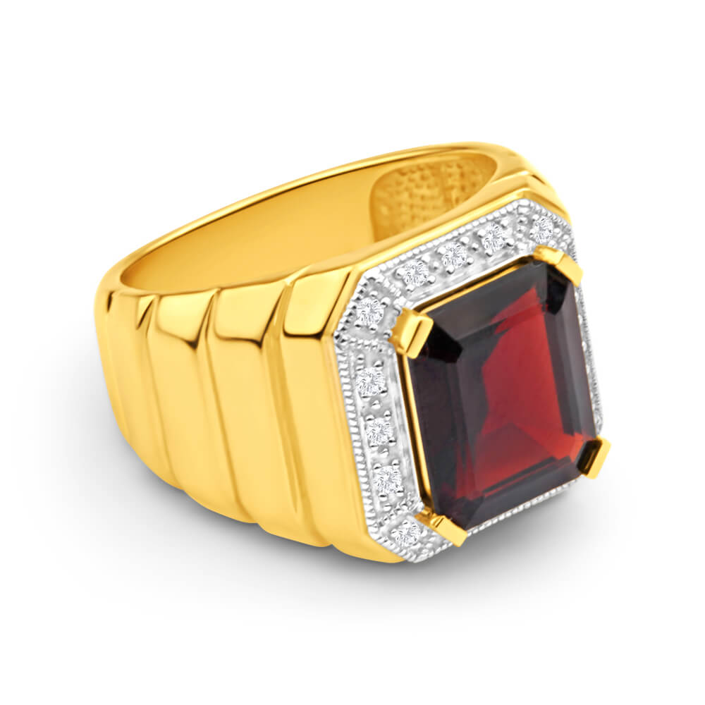 9ct Yellow Gold 12x10mm Emerald Cut Garnet and Diamond Halo Gents Ring