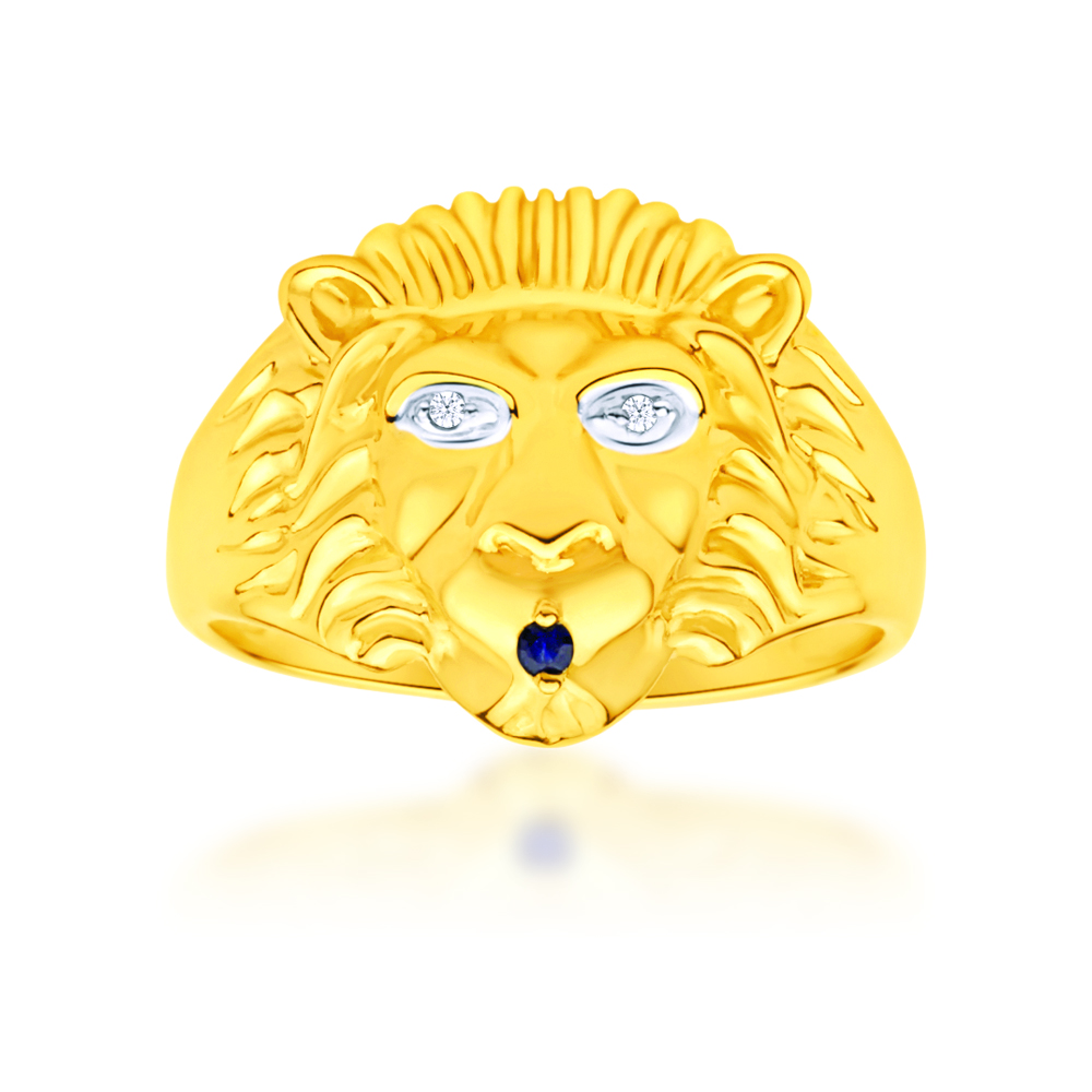 9ct Yellow Gold Lion Head Diamond and Sapphire Gents Ring