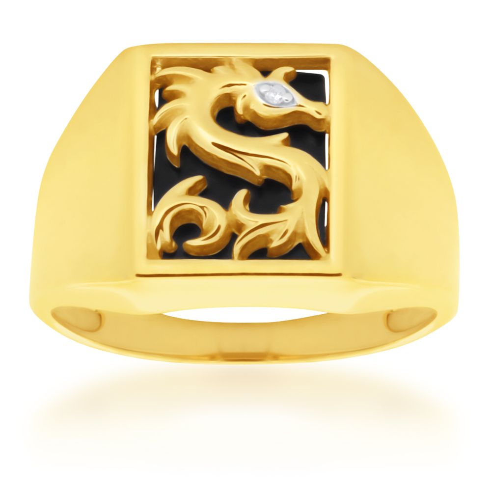 9ct Yellow Gold Onyx and Diamond Dragon Gents Ring