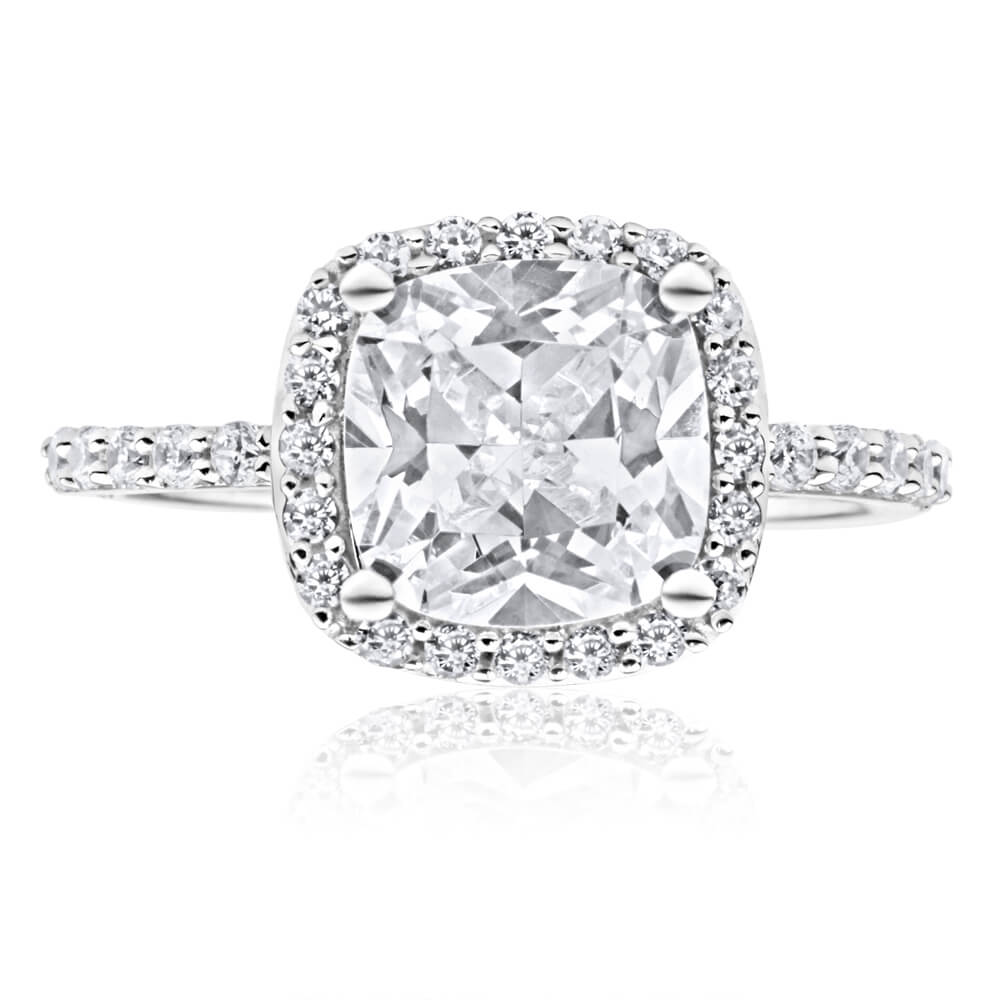 9ct White Gold 8mm Cushion Cut Cubic Zirconia Halo Ring