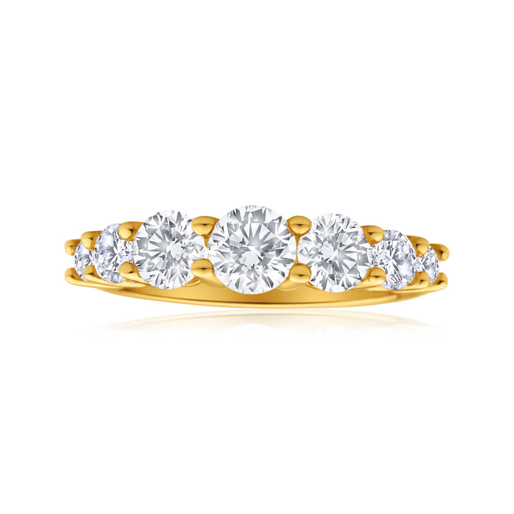9ct Yellow Gold Cubic Zirconia Graduated 7 Stone Ring