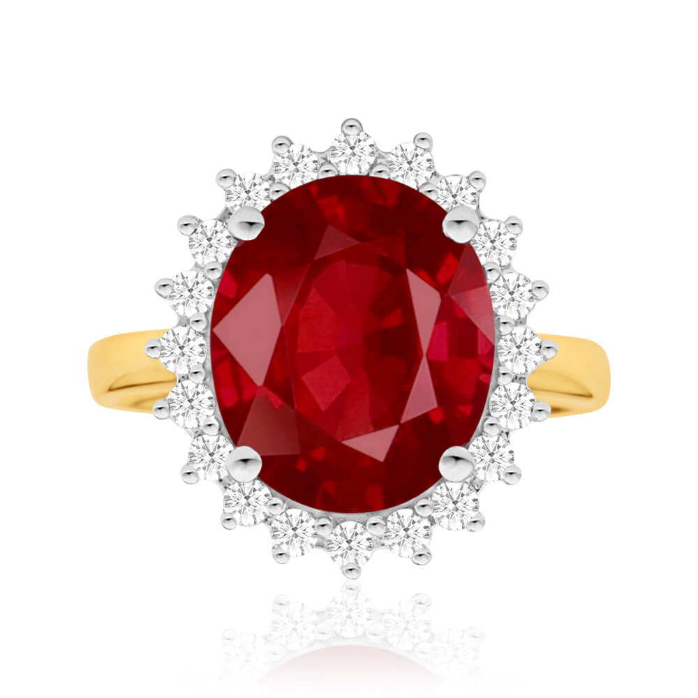 Natural Enhanced 8-8.75ct Ruby and Diamond Ring in 9ct Yellow Gold