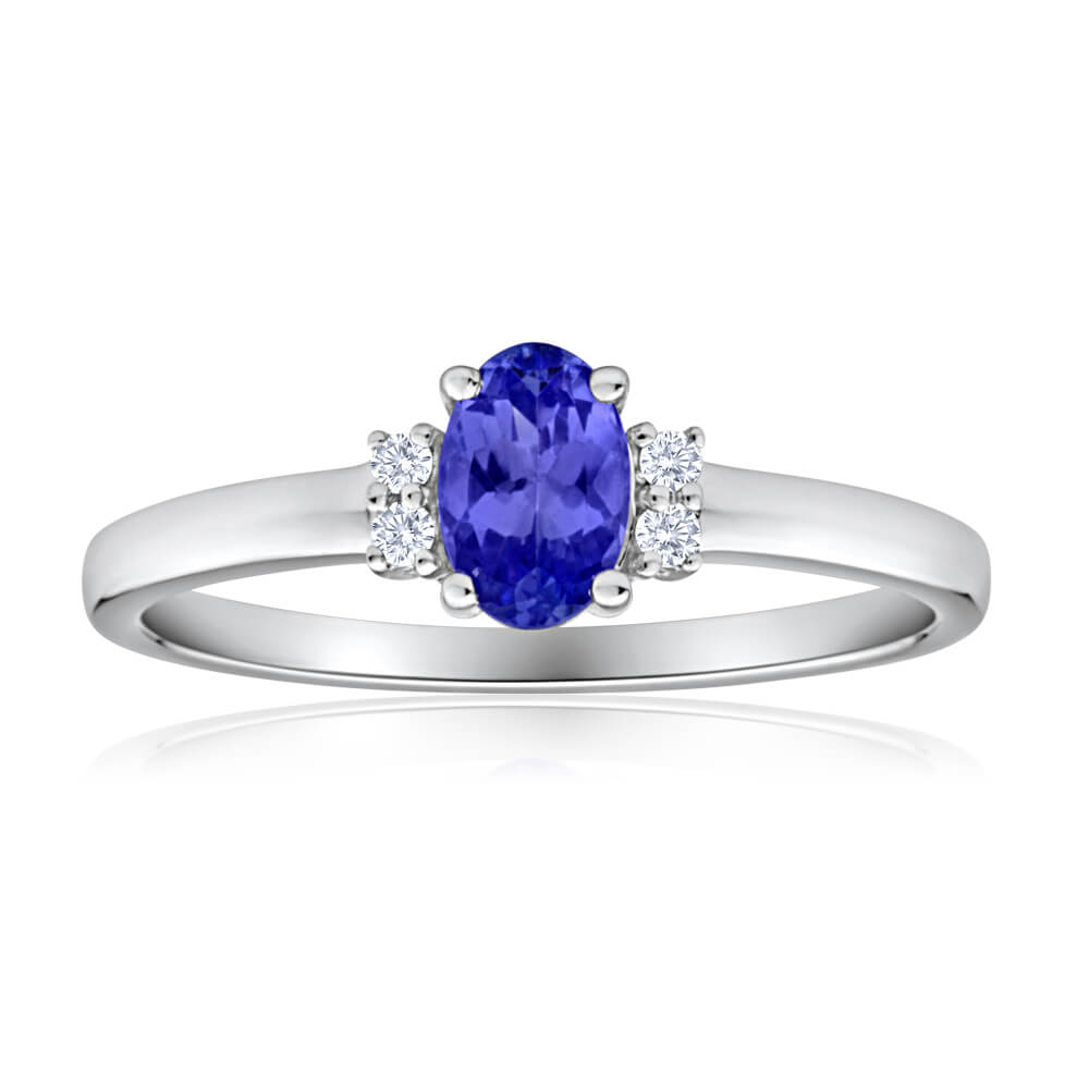 9ct White Gold Diamond + Tanzanite Ring