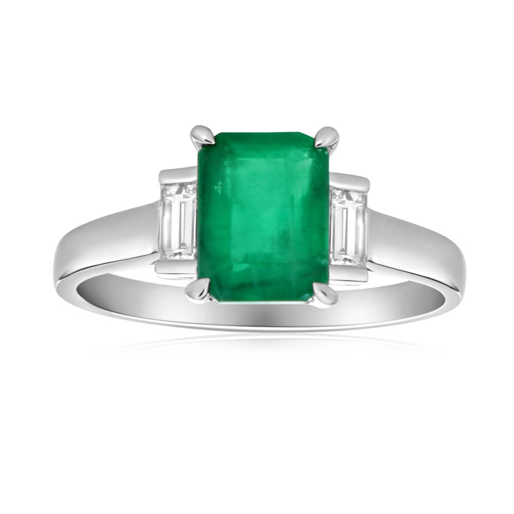 9ct White Gold Natural Emerald 8x6mm and Diamond 0.21ct Ring
