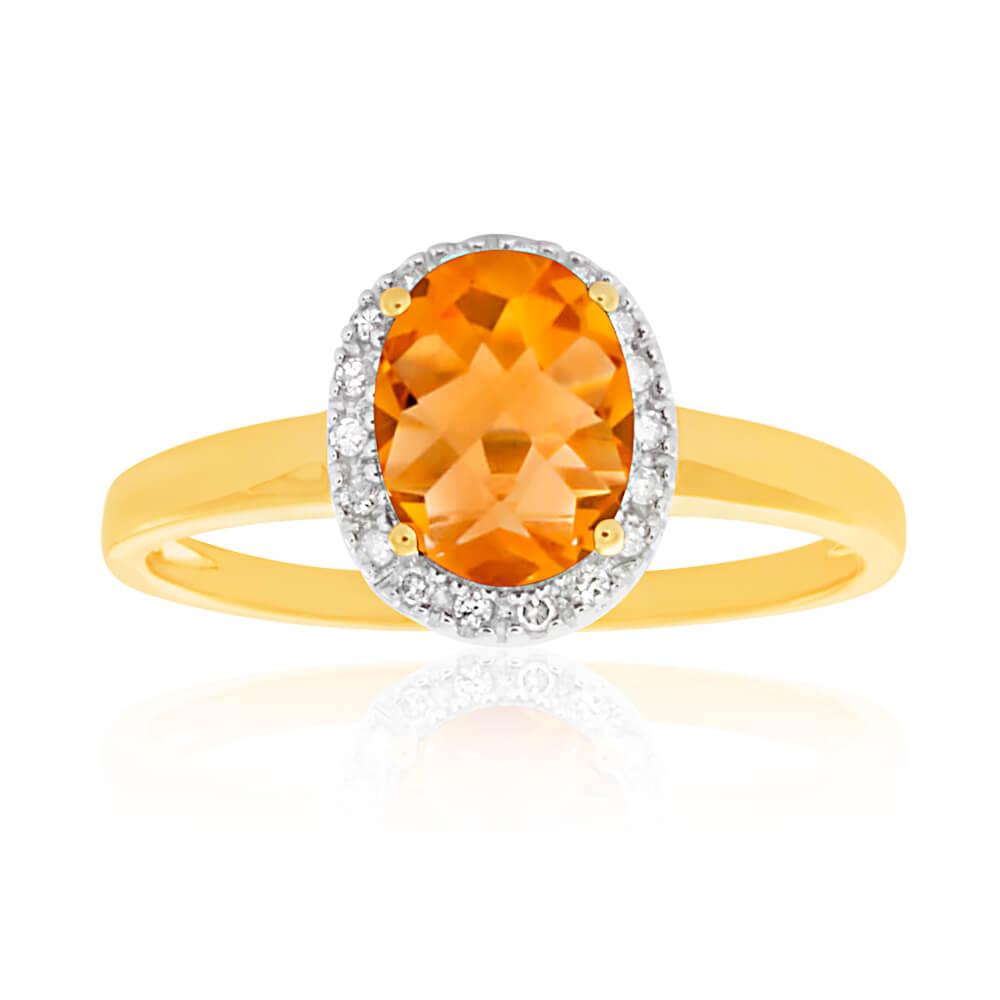 9ct Yellow Gold Citrine 6x8mm and Diamond Ring