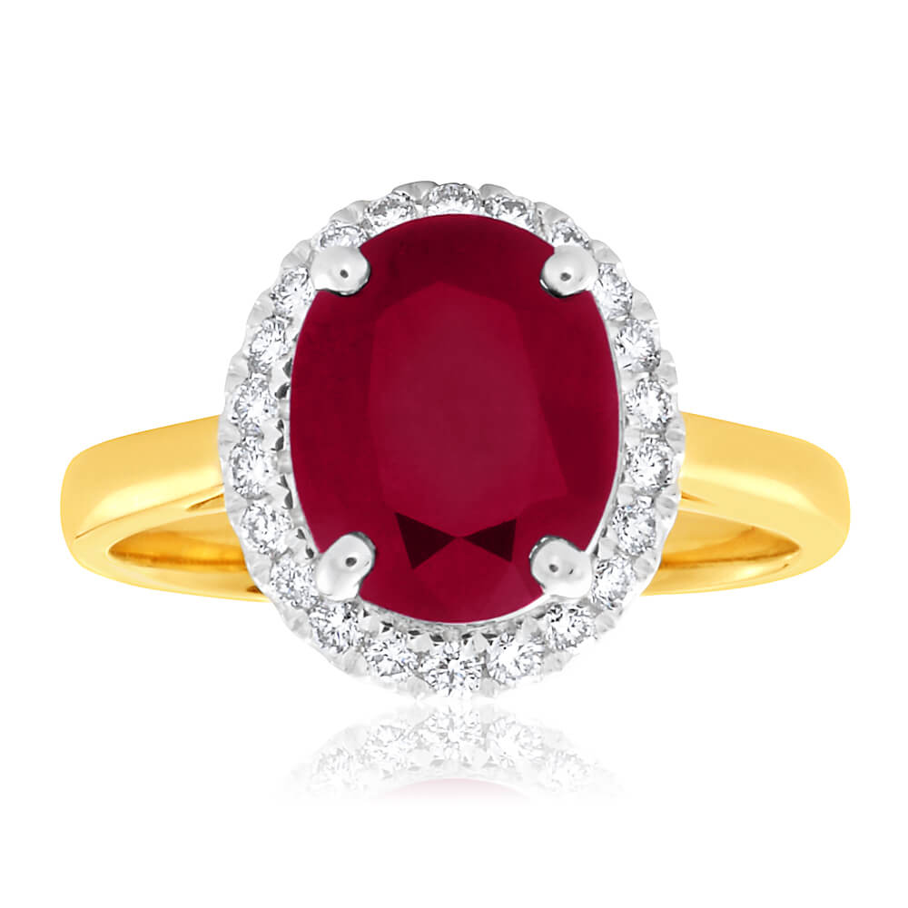 9ct Yellow Gold Diamond + Natural Enhanced/Heat Treated Ruby Ring