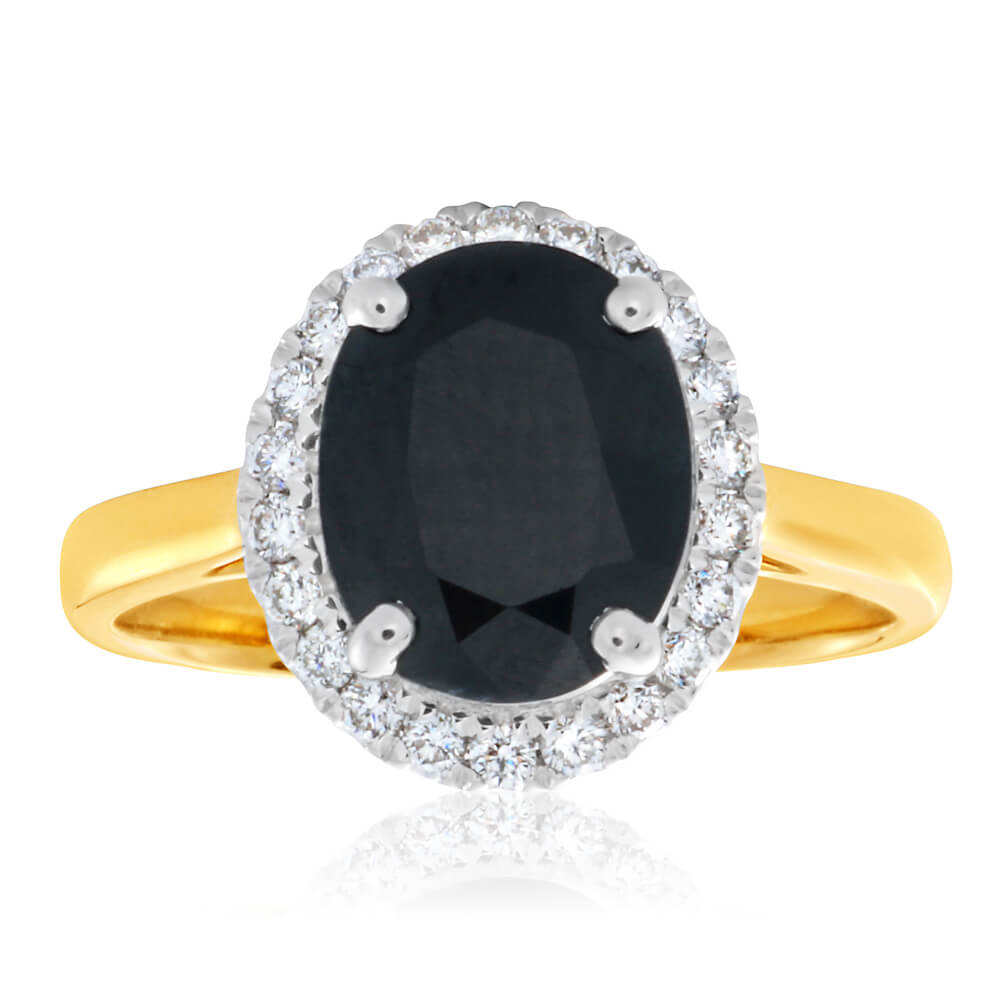 9ct Yellow Gold Diamond + Natural Black Sapphire Ring