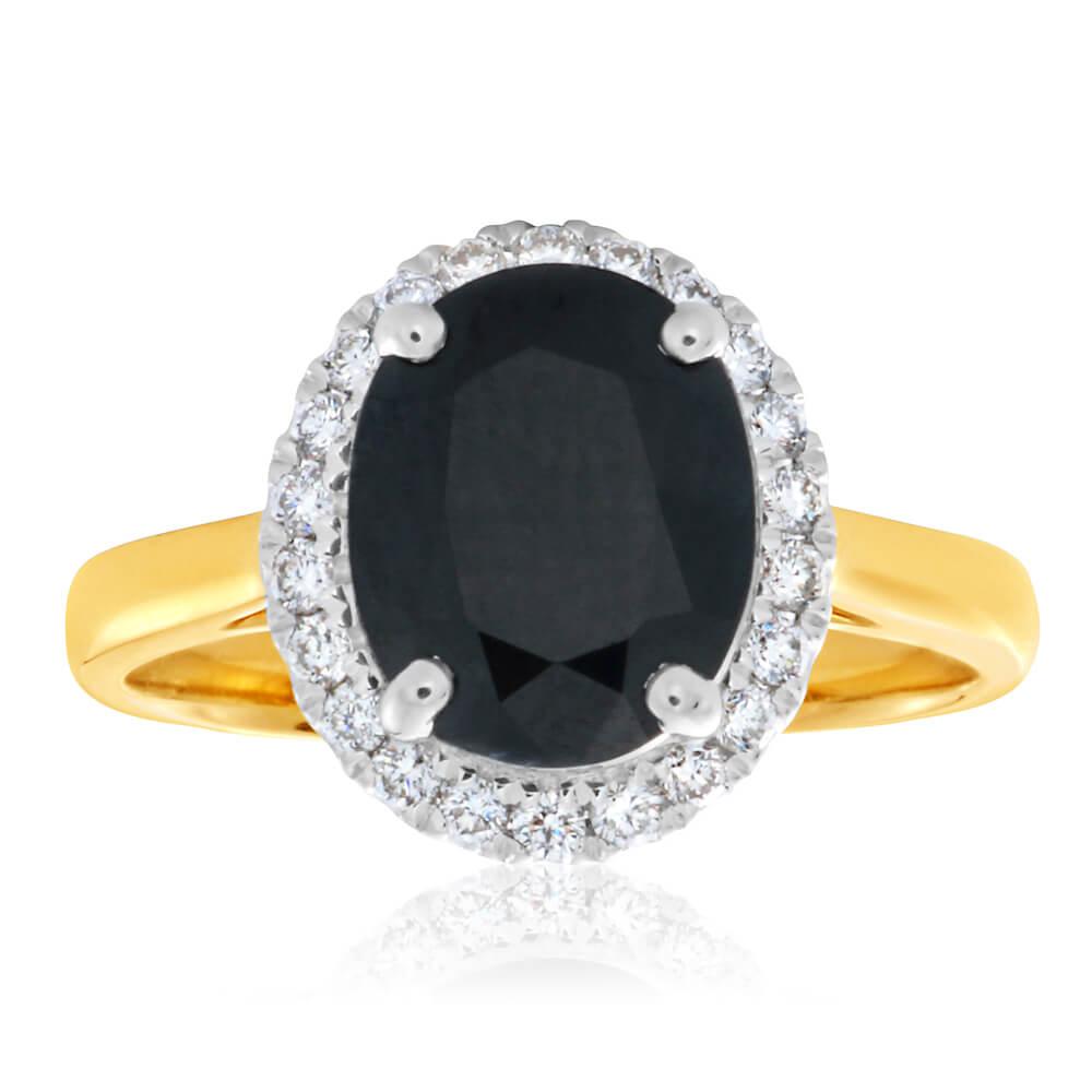 9ct Yellow Gold Diamond + Natural Black Sapphire Ring