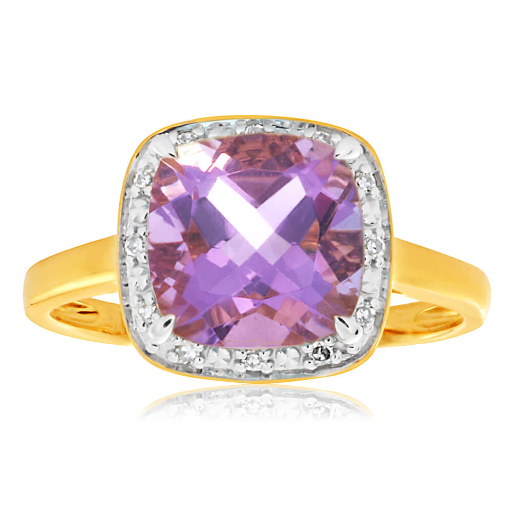 9ct Yellow Gold 8mm Amethyst Diamond Ring