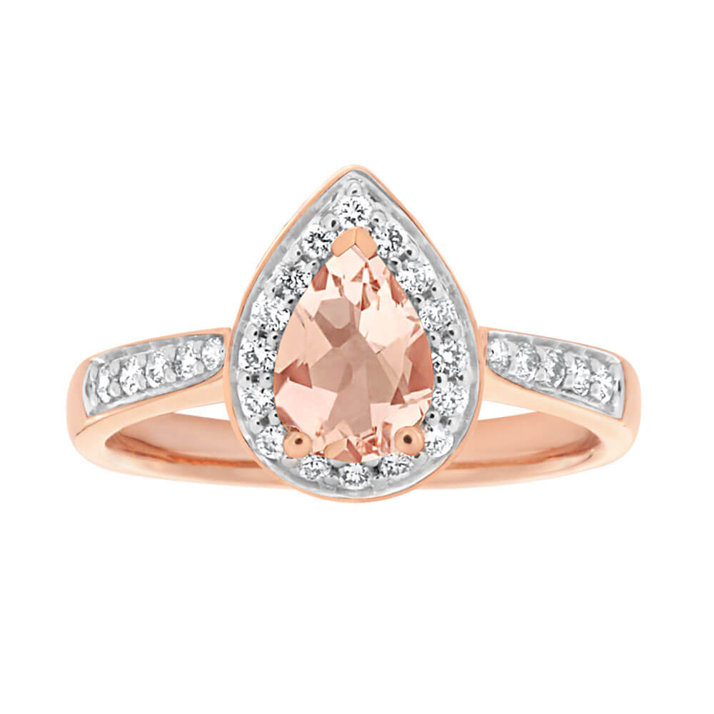 9ct Rose Gold 0.60 Carat 7x5mm Morganite and Diamond 0.20ct Ring