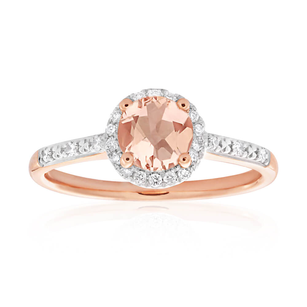 9ct Rose Gold Morganite 6mm and Diamond Halo 0.14ct Ring